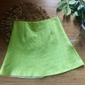 NWT J. Crew  Chartreuse Green Print Skirt Size 4